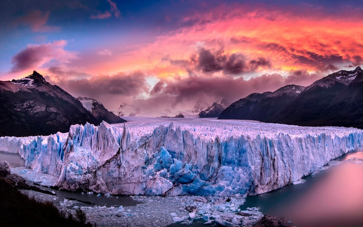 Фото бесплатно горы, ледник, вода, небо, пейзажи