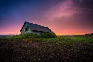 Заставки закат, поле, старый дом