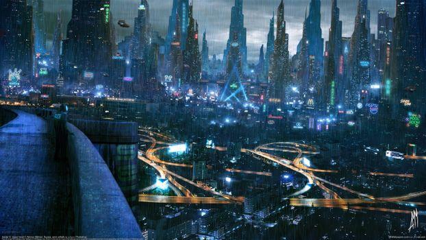Photo free the city of the future city, skyscrapers, rain