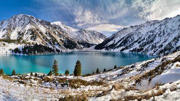 Заставки озеро,горы,снег,зима