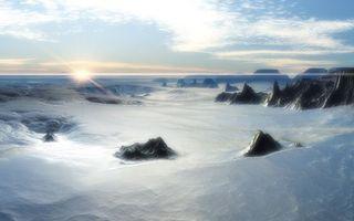 Бесплатные фото скалы,камни,снег,сугробы,горизонт,солнце,небо