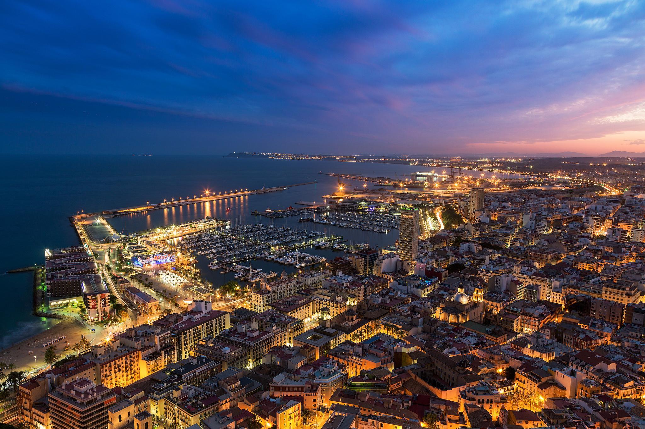 огни город море сумерки lights the city sea twilight  № 2659562 бесплатно