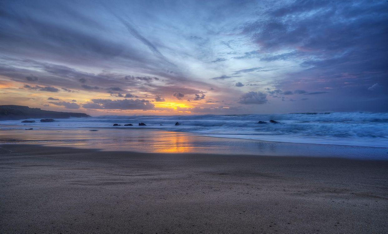 Фото бесплатно Guincho, Portugal, Пляж Гуинчо, Португалия, закат, море, волны, берег, пейзаж, пейзажи