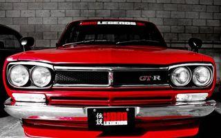 Бесплатные фото ниссан гтр,красный,старый кузов,фары,решетка,зеркала,надписи
