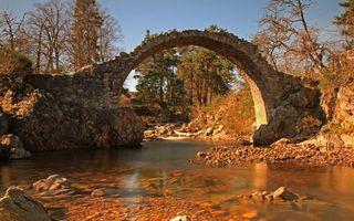 Фото бесплатно река, камни, арка, кладка, трава, деревья