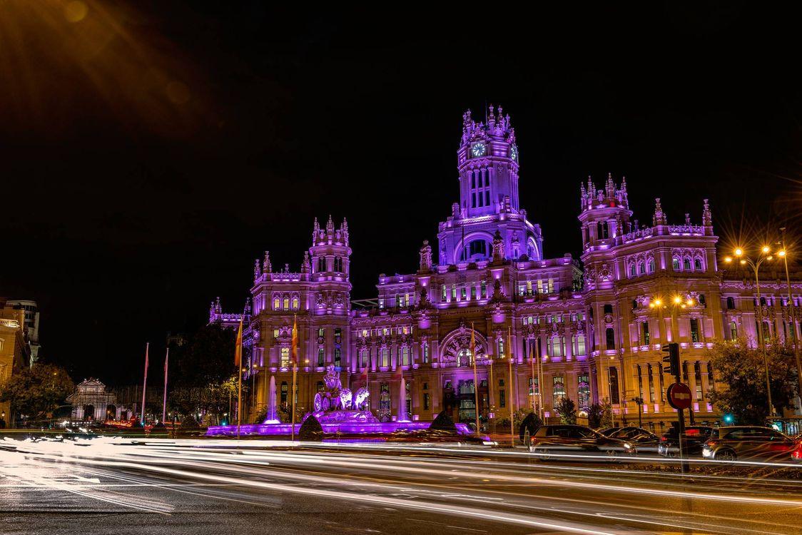 Фото бесплатно Madrid, Spain, Мадрид, Испания, город, ночь, огни, город