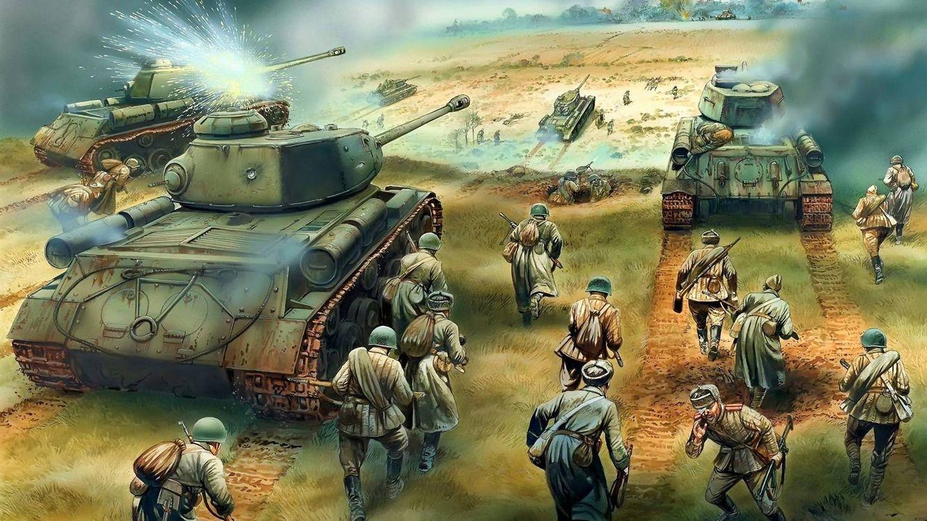 Фото бесплатно сражение, рисунок, война, солдаты, танки, разное