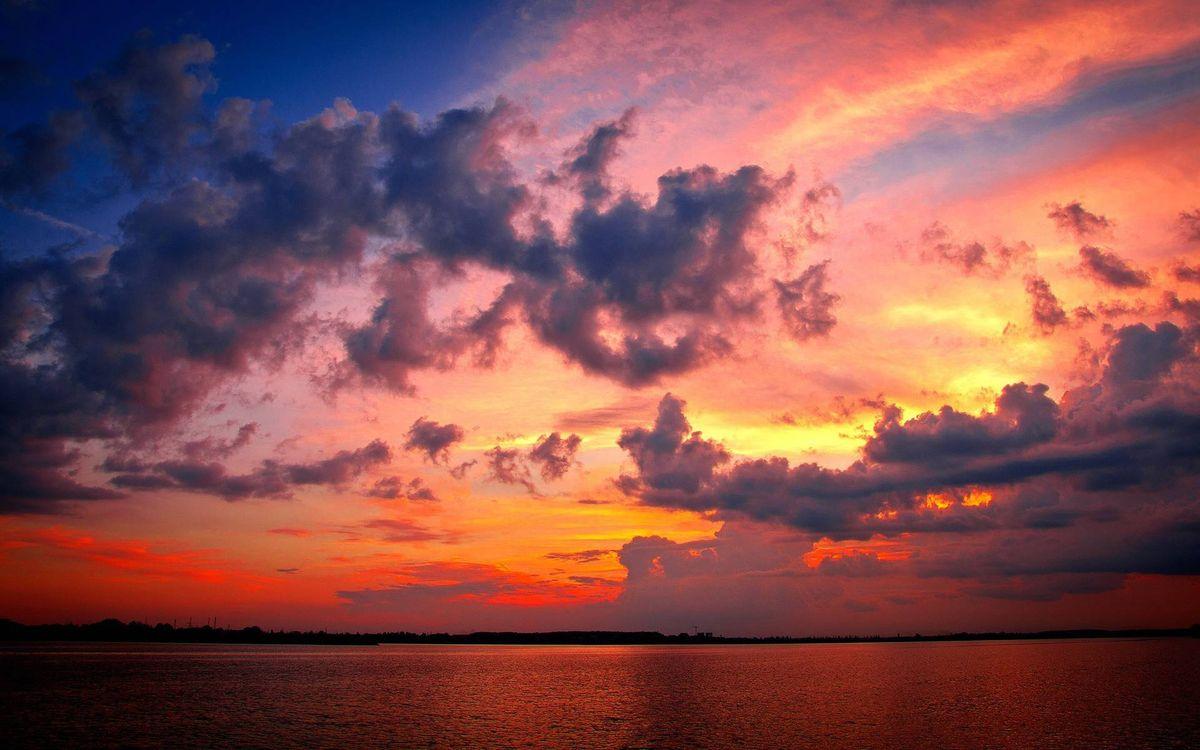 Фото бесплатно вечер, озеро, берег, небо, облака, закат, пейзажи