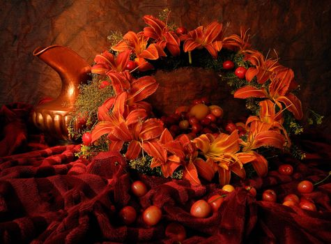 Photo free wreath, tomatoes, vase
