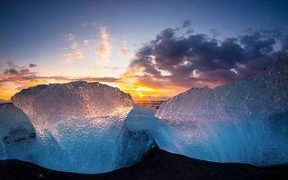 Бесплатные фото айсберг,лед,океан,закат,небо