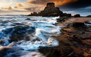 Бесплатные фото берег,песок,камни,скалы,море,волны,небо
