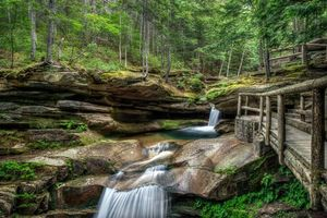 Заставки водопад, Новая Англия, лес