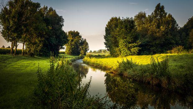 Фото бесплатно речка, река, деревья