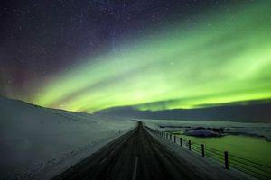 Фото бесплатно серверное сияние, дорога, горы