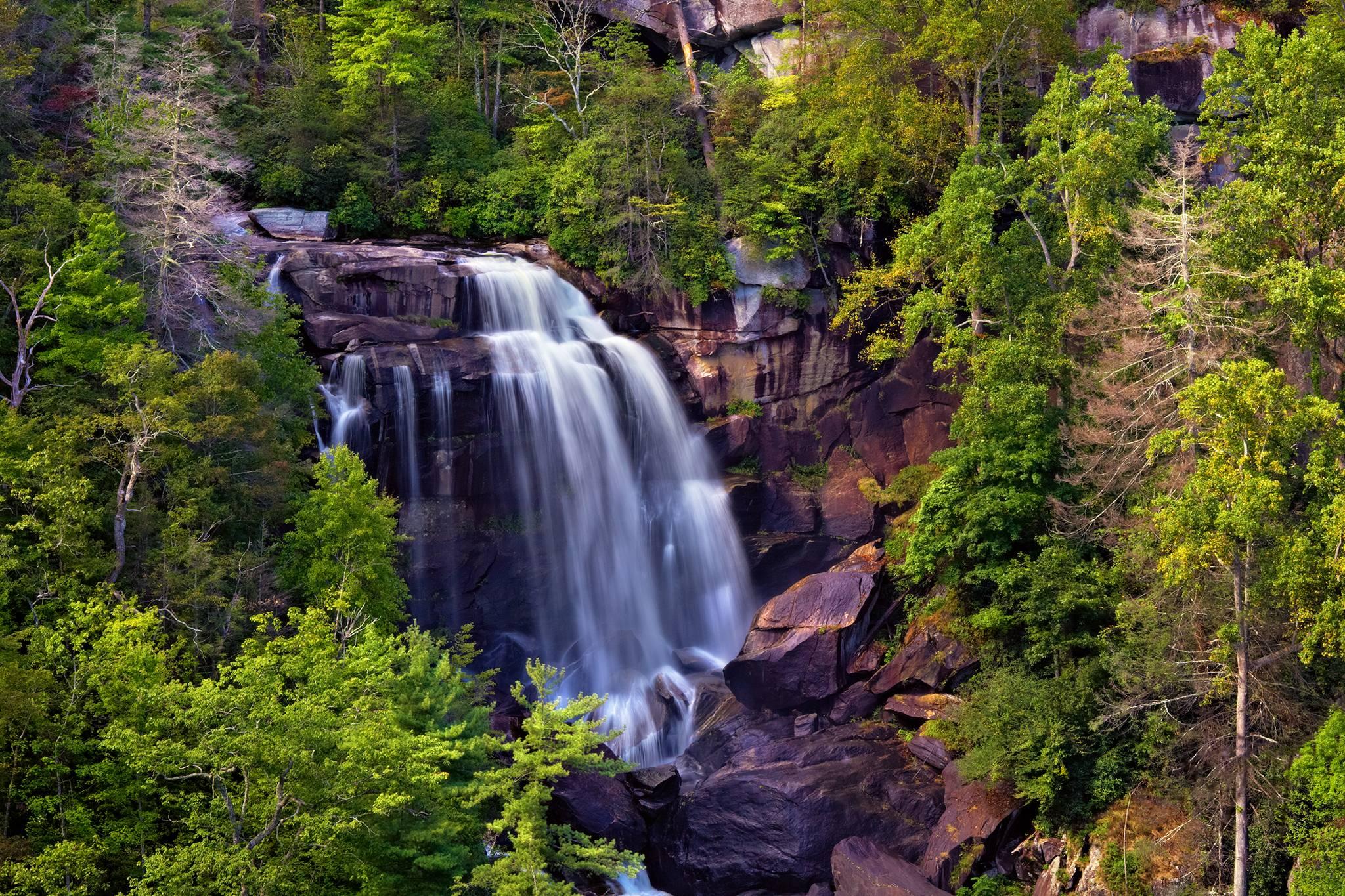 водопад, Северная Каролина, скалы