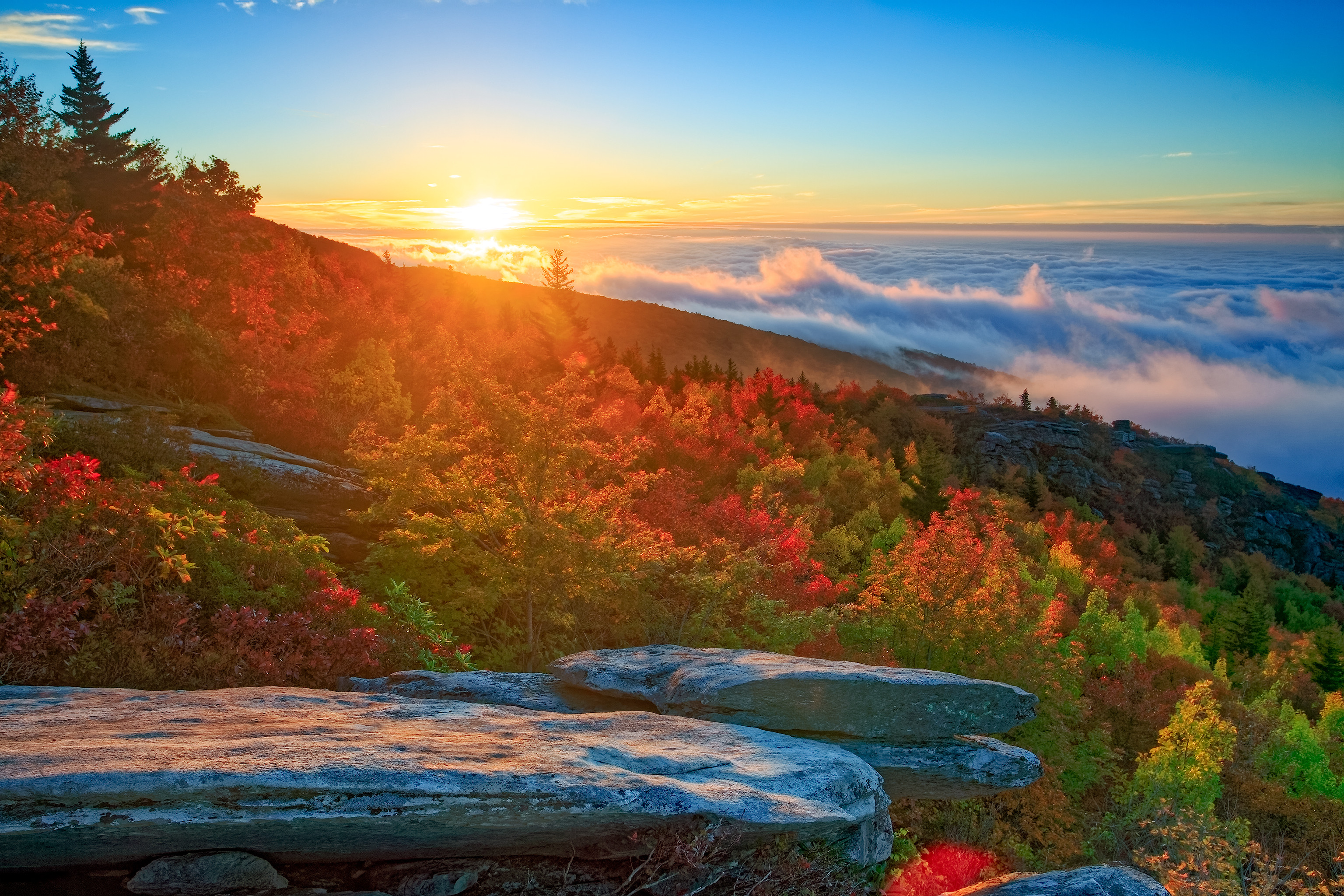 обои Северная Каролина, горы, закат, облака картинки фото