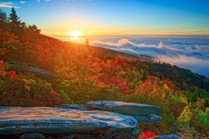Фото бесплатно Северная Каролина, горы, закат, облака, деревья, осень, пейзаж