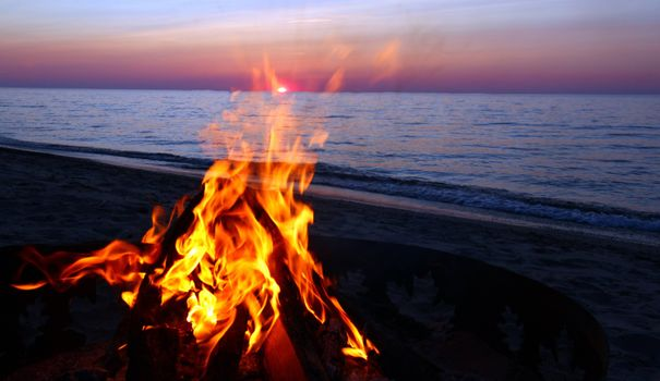 Photo free bonfire by the sea, beach