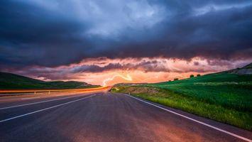 Бесплатные фото дорога, тучи, поле, молния, пейзаж