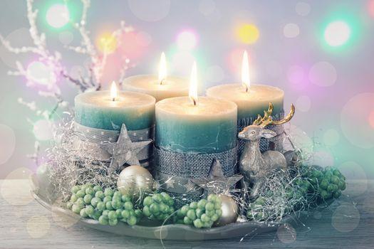Фото бесплатно рождественские обои, с новым годом, рождественские свечи
