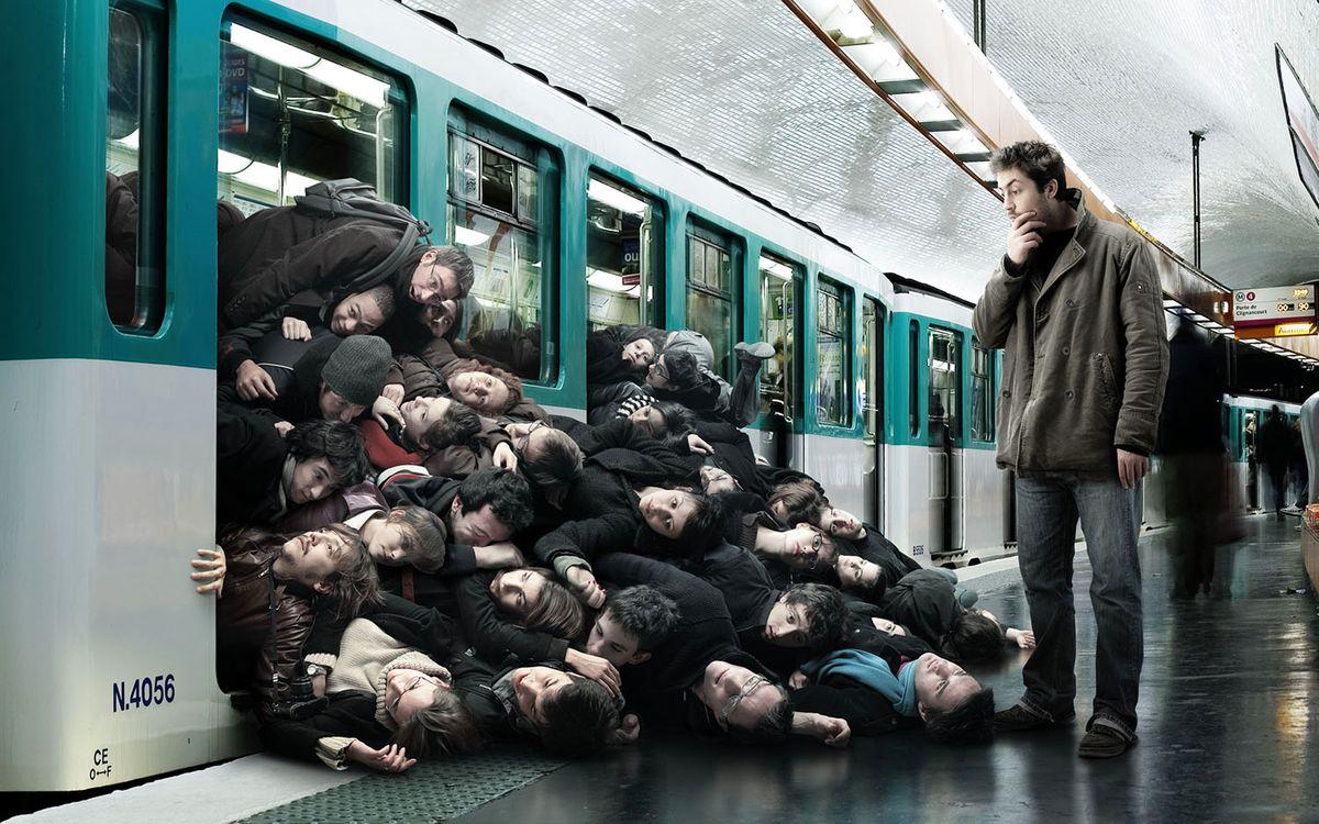 Фото бесплатно перрон, метро, электричка, люди, куча, юмор