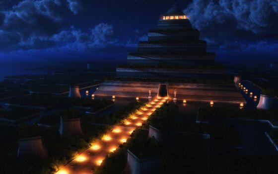 Бесплатные фото пирамида,современная,ночь,фонари,тропика,звезды,облака