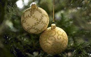 Бесплатные фото шары, новый год, елка, золото, игрушки