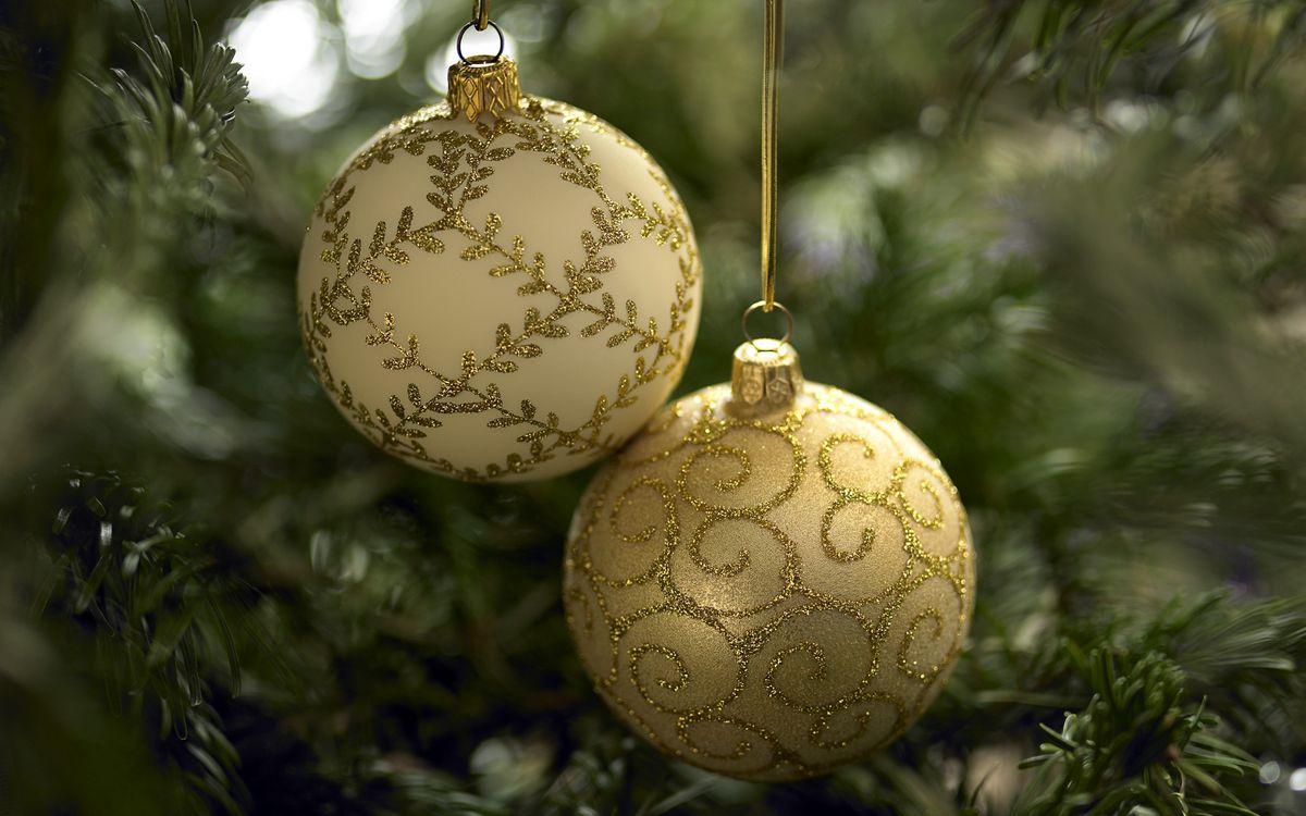Фото бесплатно шары, новый год, елка - на рабочий стол