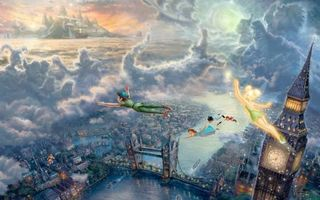 Фото бесплатно the disney dreams collection, thomas kinkade, tinkerbell and peter pan fly to neverland