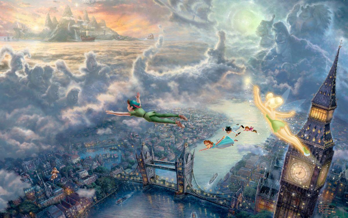 Фото бесплатно the disney dreams collection, thomas kinkade, tinkerbell and peter pan fly to neverland - на рабочий стол