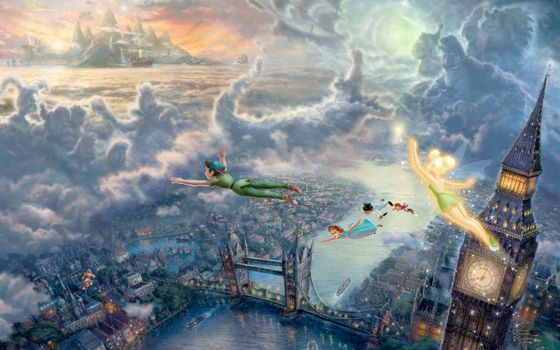 Бесплатные фото the disney dreams collection,thomas kinkade,tinkerbell and peter pan fly to neverland