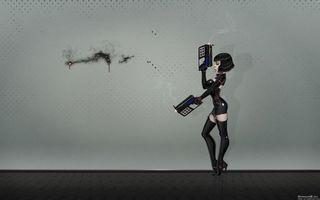 Бесплатные фото hi-tech,девушка,пистолеты,стена,дырки в стене