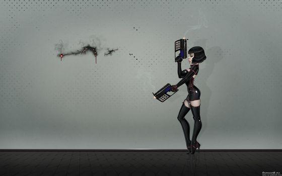 Заставки hi-tech, девушка, пистолеты