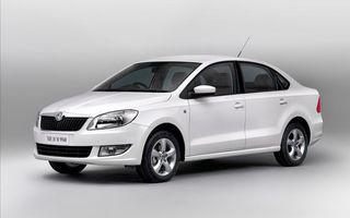 Обои шкода, новая, автомобиль, белый, серый фон, машины