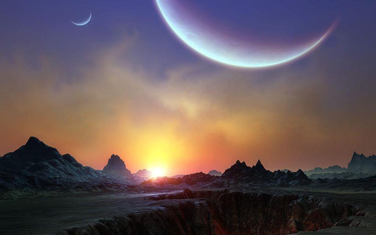 Фото бесплатно тритон, планета, спутник, нептун, восход солнца, новые миры, галактика, космос, космос