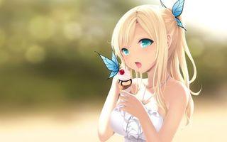 Бесплатные фото девочка,рисунок,мультик,блондинка,мороженое,глаза,голубые