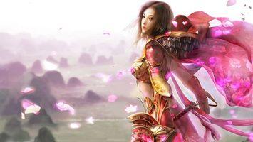 Бесплатные фото девушка, костюм, платье, узор, волосы, прическа, меч