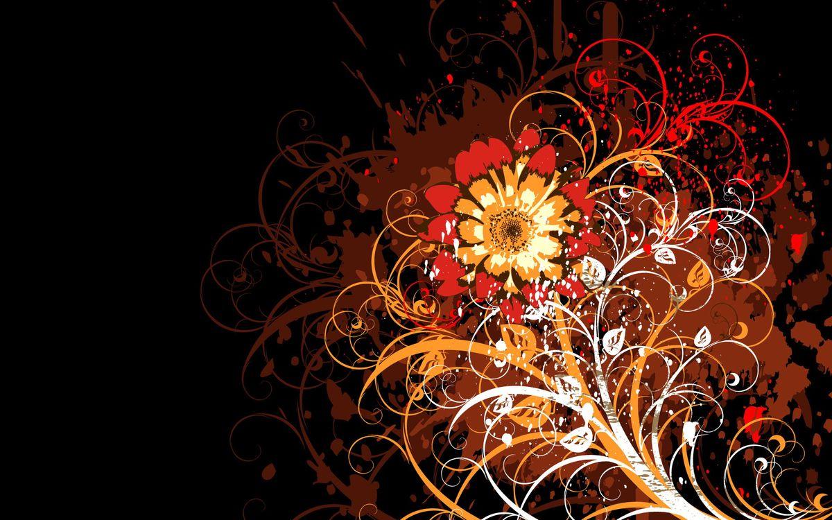 Фото бесплатно фон, заставка, орнамент, узор, цветок, листья, рисунок, стебель, желтый, красный, абстракции, разное, разное