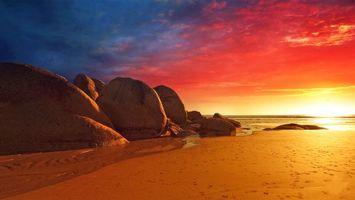 Бесплатные фото море,пляж,камни,закат,природа