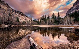 Фото бесплатно река, коряга, скалы