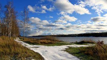Бесплатные фото река, вода, деревья, снег, трава, кусты, небо