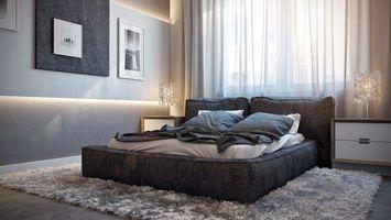 Бесплатные фото спальня, кровать, подушки, ковер, тумбочки, шторы, интерьер