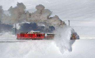 Заставки поїзд, сніг, колія