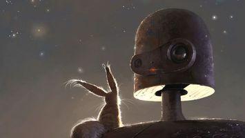 Обои белка, металл, шерсть, небо, звезды, ночь, робот, разное