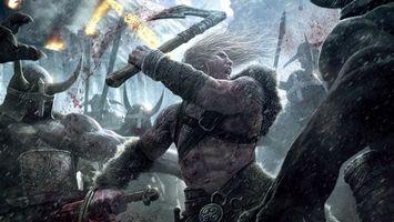 Обои бой, сражение, война, человек, топор, кровь, рога, шлем, защита, костюм, ремень, щит