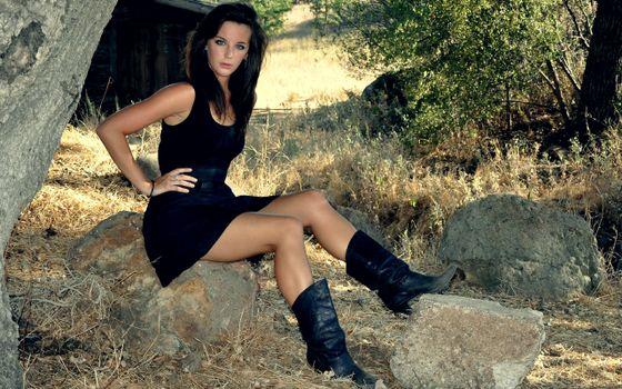 Photo free brunette, dress, boots