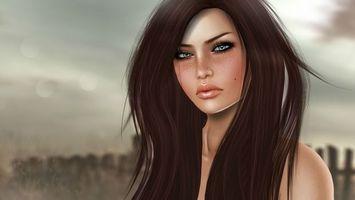 Бесплатные фото брюнетка,веснушки,лицо,портрет,волосы,плечи,родинка