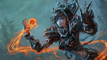 Заставки девочка, огонь, шар