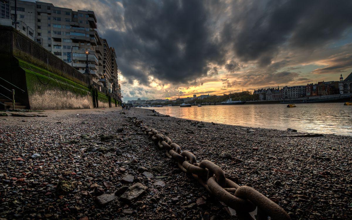 Фото бесплатно цепь, берег, реки, лодки, дома, город, город