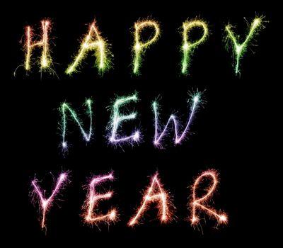 happy new year, с новым годом, праздник, надписи, разноцветные